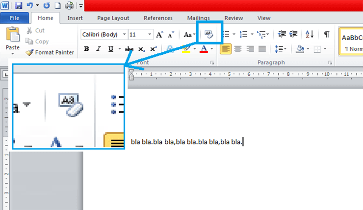 Clear all text formatting in Microsoft Word